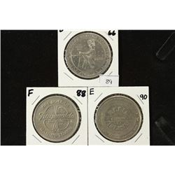 3 ASSORTED $1 GAMING TOKENS 1966 DIAMOND JIMS