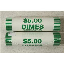 2-$5 ROLLS OF 2009-D ROOSEVELT DIMES BRILLIANT UNC