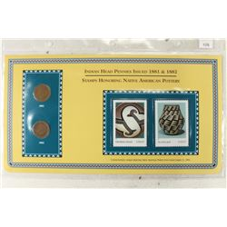 1881 & 1882 INDIAN HEAD CENT & STAMP SETS AS SHOWN
