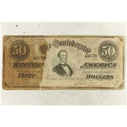 1864 CONFEDERATE STATES OF AMERICA $50