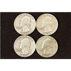 1952-D,56,57-D & 58-D WASHINGTON SILVER QUARTERS
