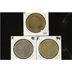 3 ASSORTED $1 GAMING TOKENS ELLIS ISLAND