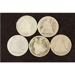3-1875, 1876 AND 1877 SEATED LIBERTY DIMES