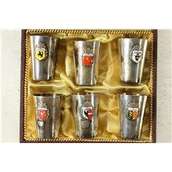SET OF 6-.800 SILVER SHOT CUPS WITH CRESTS IN CASE