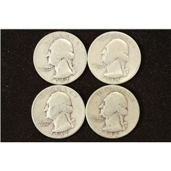 1942-S,43,47-D & 1948-D WASHINGTON SILVER QUARTERS