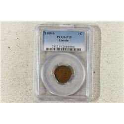 1909-S LINCOLN CENT KEY DATE PCGS F15 RETAIL