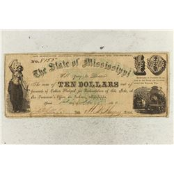 1862 STATE OF MISSISSIPPI $10 OBSOLETE BANK NOTE