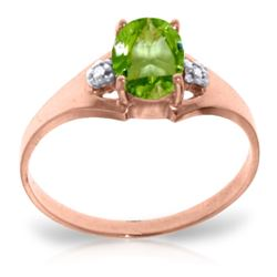 Genuine 0.76 ctw Peridot & Diamond Ring Jewelry 14KT Rose Gold - REF-20Y8F
