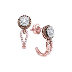 0.73 CTW Diamond J Half Hoop Cluster Earrings 14KT Rose Gold - REF-89F9N