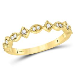 0.10 CTW Diamond Squares Stackable Ring 14KT Yellow Gold - REF-22H4M