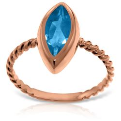 Genuine 2.5 ctw Blue Topaz Ring Jewelry 14KT Rose Gold - REF-39R9P