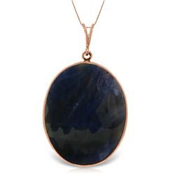 Genuine 20 ctw Sapphire Necklace Jewelry 14KT Rose Gold - REF-70T3A