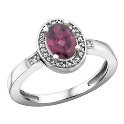 Natural 1.08 ctw Rhodolite & Diamond Engagement Ring 14K White Gold - REF-31M7H