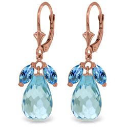 Genuine 14.4 ctw Blue Topaz Earrings Jewelry 14KT Rose Gold - REF-46A7K