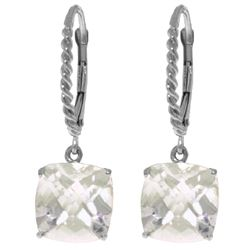Genuine 7.2 ctw White Topaz Earrings Jewelry 14KT White Gold - REF-48R3P