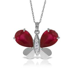 Genuine 10.60 ctw Ruby & Diamond Necklace Jewelry 14KT White Gold - REF-181R9P