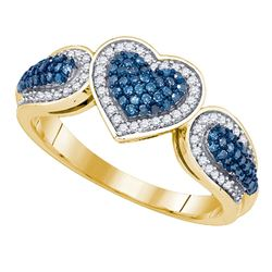 0.40 CTW Blue Color Diamond Heart Love Ring 10KT Yellow Gold - REF-40K4W