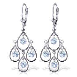 Genuine 2.4 ctw Aquamarine Earrings Jewelry 14KT White Gold - REF-61X6M