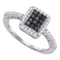 0.45 CTW Black Color Diamond Cluster Ring 10KT White Gold - REF-24M2H