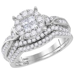 0.99 CTW Princess Diamond Soleil Bridal Engagement Ring 14KT White Gold - REF-119X9Y