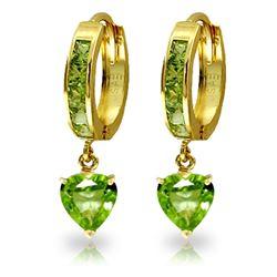 Genuine 4.1 ctw Peridot Earrings Jewelry 14KT Yellow Gold - REF-52X2M