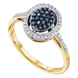 0.25 CTW Blue Color Diamond Oval Cluster Ring 10KT Yellow Gold - REF-20M9H