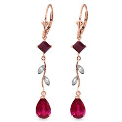 Genuine 3.97 ctw Ruby & Diamond Earrings Jewelry 14KT Rose Gold - REF-56R3P