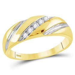 0.10 CTW Mens Diagonal Diamond Wedding Anniversary Ring 10KT Yellow Gold - REF-14N9F