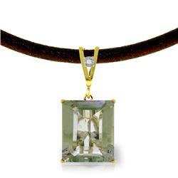 Genuine 6.51 ctw Green Amethyst & Diamond Necklace Jewelry 14KT Yellow Gold - REF-31F6Z