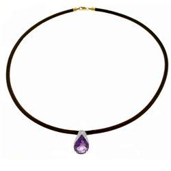 Genuine 6 ctw Amethyst Necklace Jewelry 14KT White Gold - REF-30F5Z