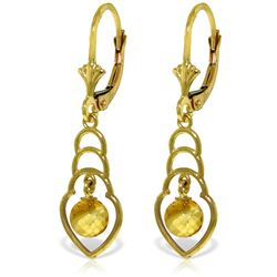 Genuine 1.25 ctw Citrine Earrings Jewelry 14KT Yellow Gold - REF-25T6A