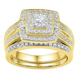 0.33 CTW Diamond Bridal Wedding Engagement Ring 10KT Yellow Gold - REF-49M5H