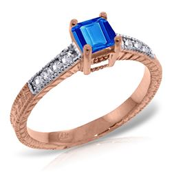 Genuine 0.65 ctw Blue Topaz & Diamond Ring Jewelry 14KT Rose Gold - REF-69N6R