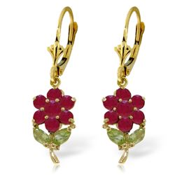Genuine 2.12 ctw Peridot & Ruby Earrings Jewelry 14KT Yellow Gold - REF-49K3V
