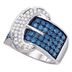 1.89 CTW Blue Color Diamond Belt Buckle Ring 10KT White Gold - REF-101Y9X