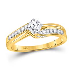 0.50 CTW Diamond Solitaire Bridal Engagement Ring 14KT Yellow Gold - REF-75W2K