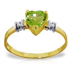 Genuine 0.98 ctw Peridot & Diamond Ring Jewelry 14KT Yellow Gold - REF-31X2M