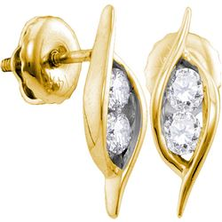 0.25 CTW Diamond 2-stone Hearts Together Stud Earrings 14KT Yellow Gold - REF-26F3N