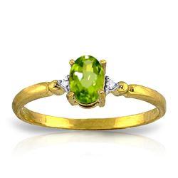 Genuine 0.46 ctw Peridot & Diamond Ring Jewelry 14KT Yellow Gold - REF-27F3Z