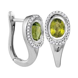 1.99 CTW Oval Natural Peridot Diamond Hoop Earrings 14KT White Gold - REF-87W2K