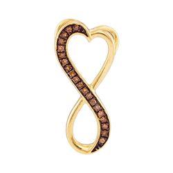0.10 CTW Cognac-brown Color Diamond Heart Infinity Pendant 10KT Yellow Gold - REF-9H7M