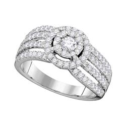 1.02 CTW Diamond Solitaire Halo Strand Bridal Engagement Ring 14KT White Gold - REF-127N4F