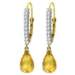 Genuine 4.8 ctw Citrine & Diamond Earrings Jewelry 14KT Yellow Gold - REF-53T2A