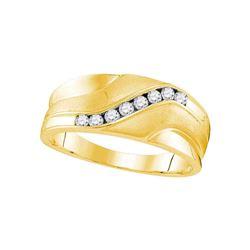 0.26 CTW Mens Diamond Wedding Ring 10KT Yellow Gold - REF-37F5N