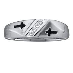 0.05 CTW Mens Diamond Single Row Cross Wedding Ring 10KT White Gold - REF-11H2M