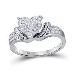 0.20 CTW Diamond Heart Cluster Ring 10KT White Gold - REF-30M2H