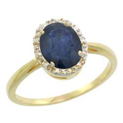 Natural 1.49 ctw Blue-sapphire & Diamond Engagement Ring 14K Yellow Gold - REF-33M2H