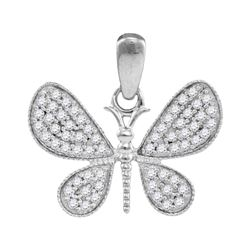 0.33 CTW Diamond Butterfly Bug Wings Pendant 10KT White Gold - REF-20X9Y