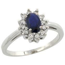 Natural 0.86 ctw blue-sapphire & Diamond Engagement Ring 14K White Gold - REF-30K9R