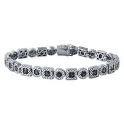 7.13 CTW Sapphire & Diamond Bracelet 14K White Gold - REF-231W4H